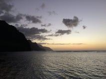 Na Pali Coast Cliffs on Kauai Island, Hawaii - View from Ke'e Beach during Sunset. Royalty Free Stock Image