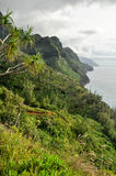 Na Pali Coast. On a cloudy day on Kauai's north shore, Hawaii Royalty Free Stock Photography