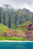 Na Pali Coast in a cloudy day Royalty Free Stock Images