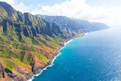 Na pali coast from helicopter royalty free stock images