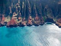 Na Pali coast of Kauai. Aerial image of the inaccessible coast of Na Pali in Kauai Stock Photos