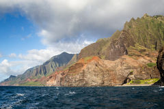 Na Pali Coast, Kauai, Hawaii. View from a boat towards the famous Na Pali Coast on the northern coast of Kauai, Hawaii, USA Stock Images