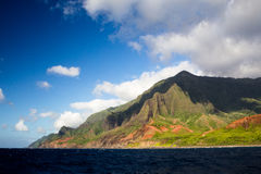 Na Pali Coast, Kauai, Hawaii. View from a boat towards the famous Na Pali Coast on the northern coast of Kauai, Hawaii, USA Royalty Free Stock Images