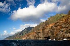 Na Pali Coast, Kauai, Hawaii. View from a boat towards the famous Na Pali Coast on the northern coast of Kauai, Hawaii, USA Royalty Free Stock Photo