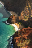 Na Pali Coastline, Kauai. Na Pali Coastline taken from open door Helicopter Royalty Free Stock Photo