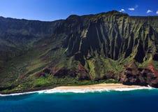 Na Pali Coastline Kauai. Aerial View of the remote Na Pali Coastline Stock Images