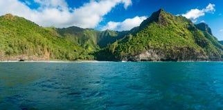 Na Pali coastline taken from sunset cruise along Kauai shore Stock Photos