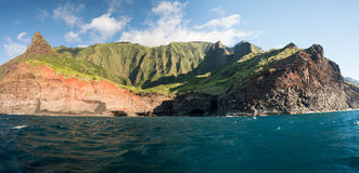 Na Pali coastline taken from sunset cruise along Kauai shore Royalty Free Stock Image