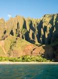 Na Pali coastline taken from sunset cruise along Kauai shore Royalty Free Stock Image