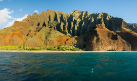Na Pali coastline taken from sunset cruise along Kauai shore. Kalalau Beach at the end of the trail on Na Pali coastline in Kauai from sunset cruise Stock Photography