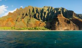 Na Pali coastline taken from sunset cruise along Kauai shore Stock Photography