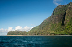 Na Pali coastline taken from sunset cruise along Kauai shore Royalty Free Stock Images