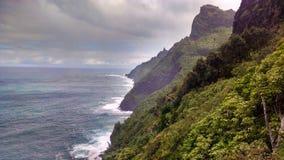 Na Pali Hike Cliffs along the ocean stock photos