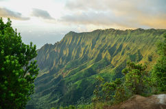 Na-paliklippor, Kauai, hawaianska öar Arkivfoton