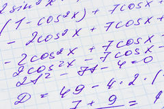 Na papierze matematyki formuła Zdjęcie Royalty Free