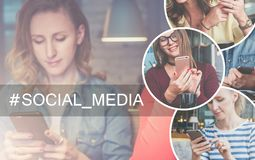 Na parte direita da imagem há uns ícones redondos com imagem das meninas com smartphones Imagens de Stock