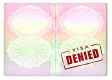 Na Paszporcie zaprzeczająca Wiza Zdjęcia Stock