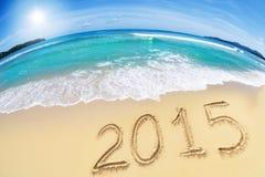 2015 na piasek plaży Obrazy Stock