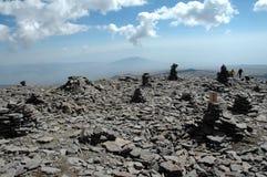 Na picareta de Armênia Aragats O turista Fotografia de Stock Royalty Free