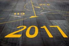 2017 na pista de decolagem do aeroporto Imagem de Stock