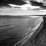 Na plaży Artystyczny spojrzenie w czarny i biały Obraz Stock