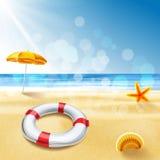 Na plażowym wakacyjnym lifebelt Ilustracja Wektor