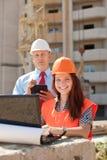 Na plac budowy pracownik urzędnicze pracy Zdjęcie Stock