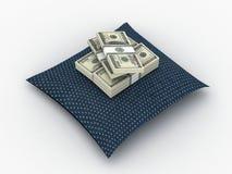 Na poduszce pieniędzy paks Zdjęcie Stock