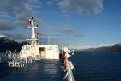 Na pokładzie statek wycieczkowy w fjord Pia archipelag Tierra Del Fuego fotografia stock