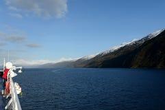Na pokładzie statek wycieczkowy w fjord Pia archipelag Tierra Del Fuego obraz royalty free