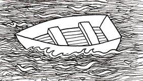 na powierzchni łódź Zdjęcia Royalty Free