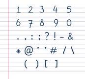 Na prążkowanym papierze tekstów ręcznie pisany symbole Obraz Stock