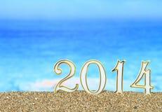 2014 na praia Imagem de Stock Royalty Free