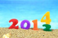 2014 na praia Fotografia de Stock Royalty Free