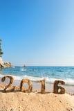 2016 na praia Fotos de Stock Royalty Free