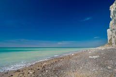 Na praia em Dieppe França em abril de 2015 Fotografia de Stock