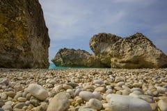 Na praia em Grécia Imagens de Stock Royalty Free