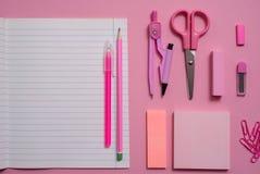 Na różowym tle, szkolni akcesoria i pióro, barwioni ołówki, para kompasy, para kompasy, kopii przestrzeń, wierzchołek rywalizują Fotografia Stock
