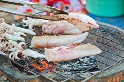 Na rynku kałamarnica grill Obraz Royalty Free