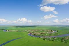 Na rzece odgórny widok obrazy stock
