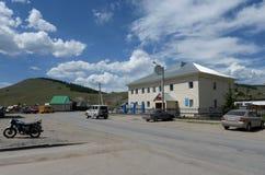 Na Sana «ulica w gromadzkim centrum Ulagan Altai republika zdjęcie royalty free