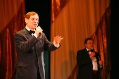 Na scena piosenkarza Edward wzgórzu (Mr Trololo i artysta Nikolay Y) artysty estradowego - wybitny i popularny Pozdeev Zdjęcia Stock