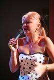 Na scenie piosenkarz, pomyślny bizneswomanu Marina Parusnikova (chybienie USSR) Fotografia Stock