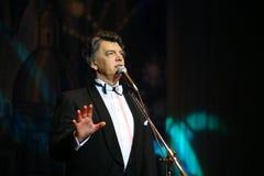 Na sceny opery śpiewackim piosenkarzie, aktorze, gwiazda muzyki pop, idol sowiecka i rosyjska muzyka Sergei Zakharov Obrazy Stock