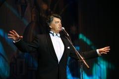 Na sceny opery śpiewackim piosenkarzie, aktorze, gwiazda muzyki pop, idol sowiecka i rosyjska muzyka Sergei Zakharov Zdjęcie Royalty Free