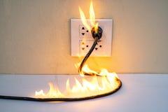 Na separação elétrica da parede do receptáculo da tomada do fio do fogo fotografia de stock