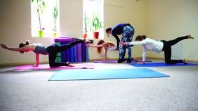 Na sessão da ioga o instrutor aprende manter corretamente a correia video estoque