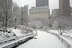 Na sneeuwonweer in de Stad van New York Royalty-vrije Stock Foto's