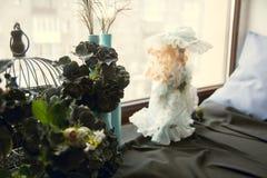 Na soleira, nas flores azuis artificiais e em uma boneca Imagens de Stock