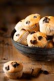 Na starzejącym się drewnianym tle świezi mini muffins Obraz Stock